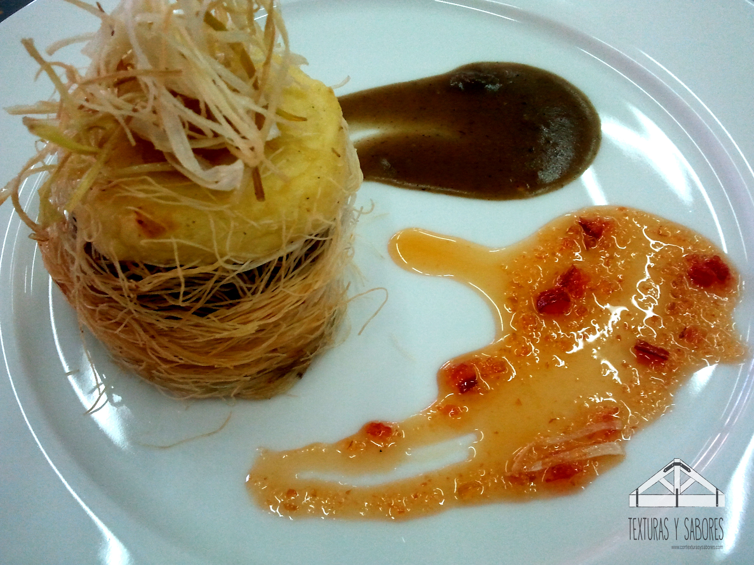 timbal de cordero con pasta kataifi