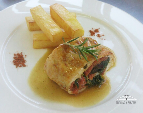 pollo relleno en salsa con patatas puente nuevo