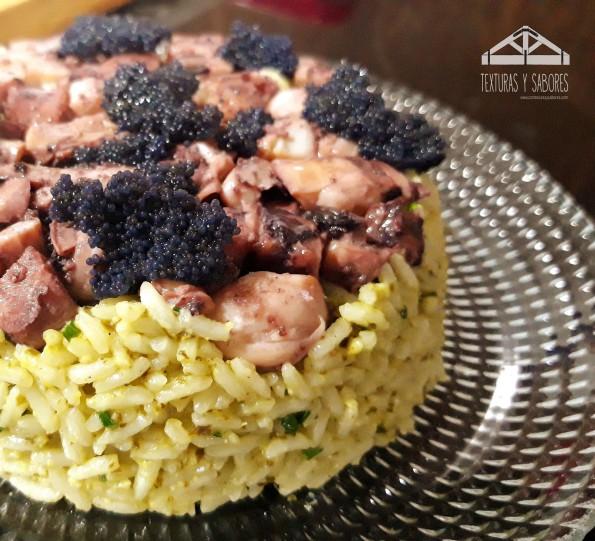 Ensalada de arroz basmati y pulpo con caviar
